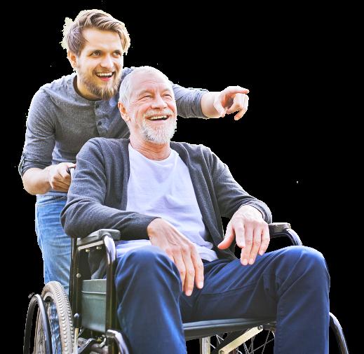 man and senior woman smiling